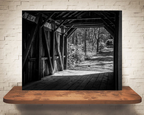 Covered Bridge Photograph Black White