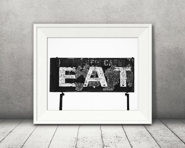 Vintage Diner Eat Sign Photograph Black White
