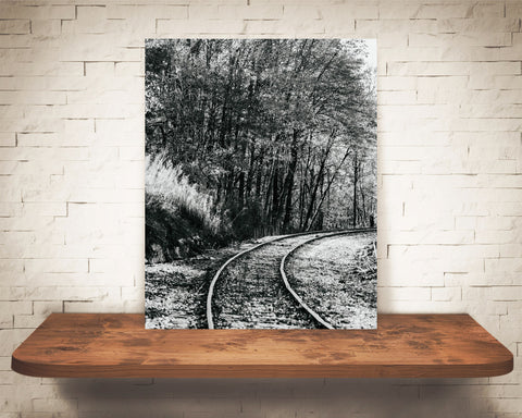 Fall Railroad Photograph Black White