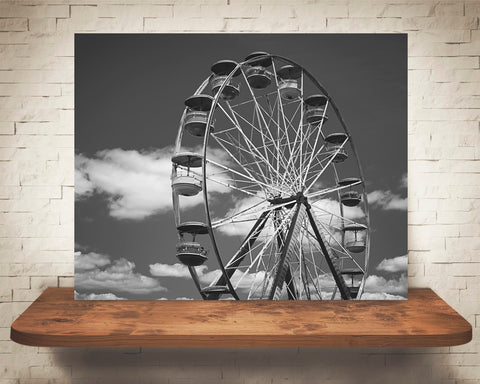 Ferris Wheel Photograph Black White