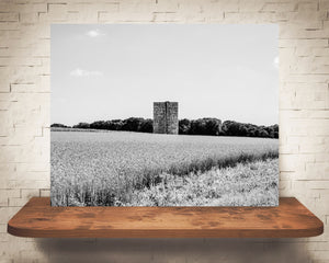 Farm Field Photograph Black White