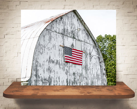 White Barn Flag Photograph
