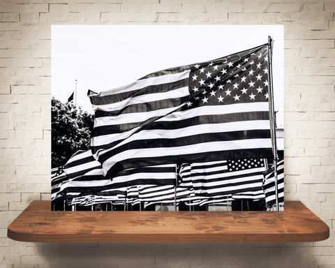 American Flag Photograph Black White