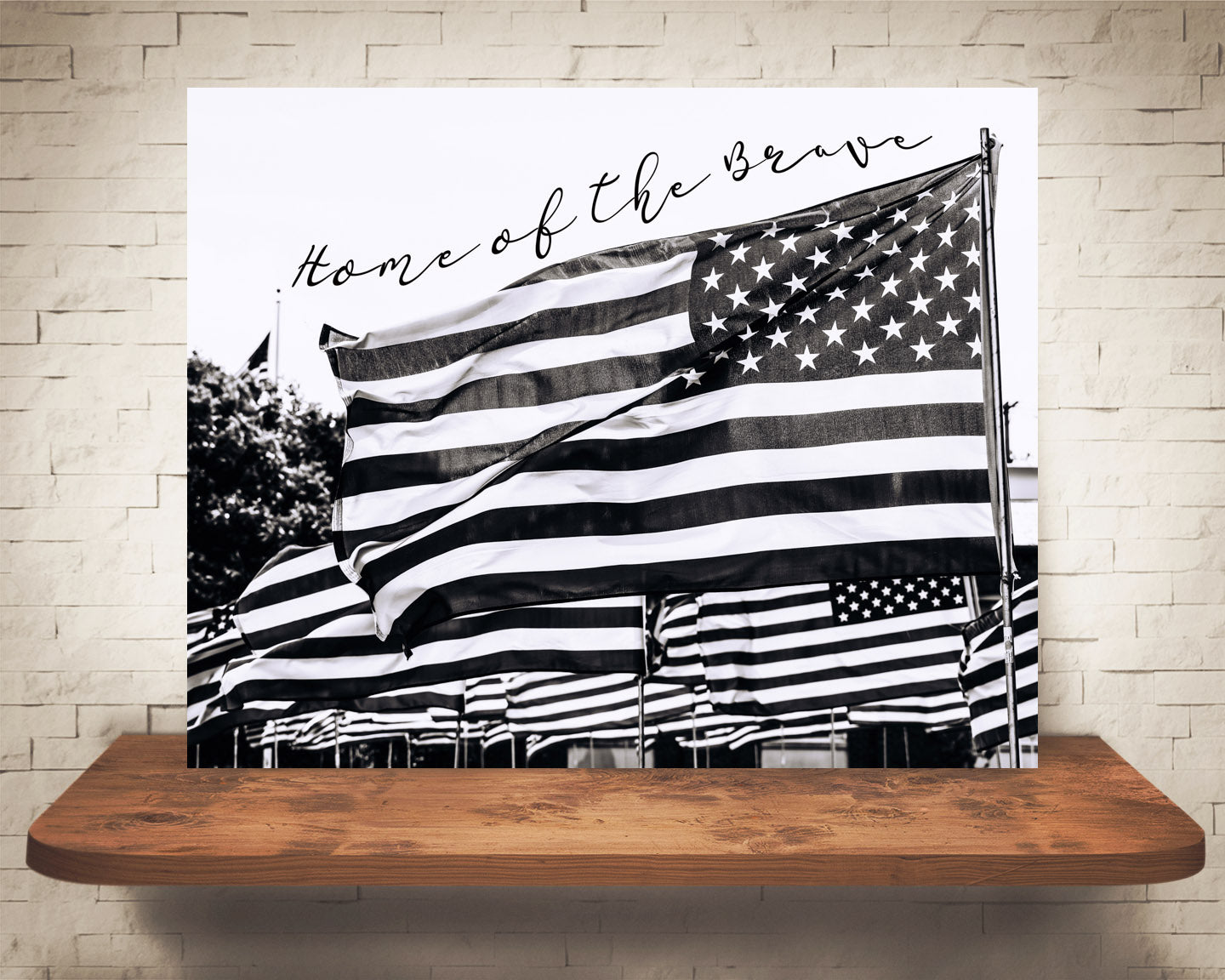 American Flag Quote Photograph Black White