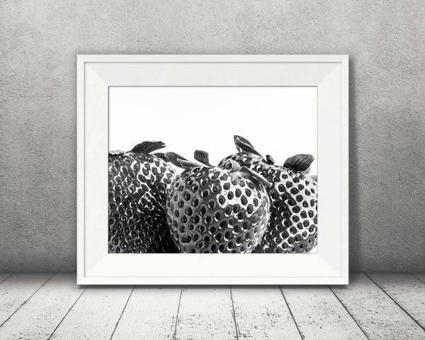 Strawberry Photograph Black White