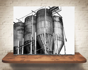Grain Bins Photograph Black White