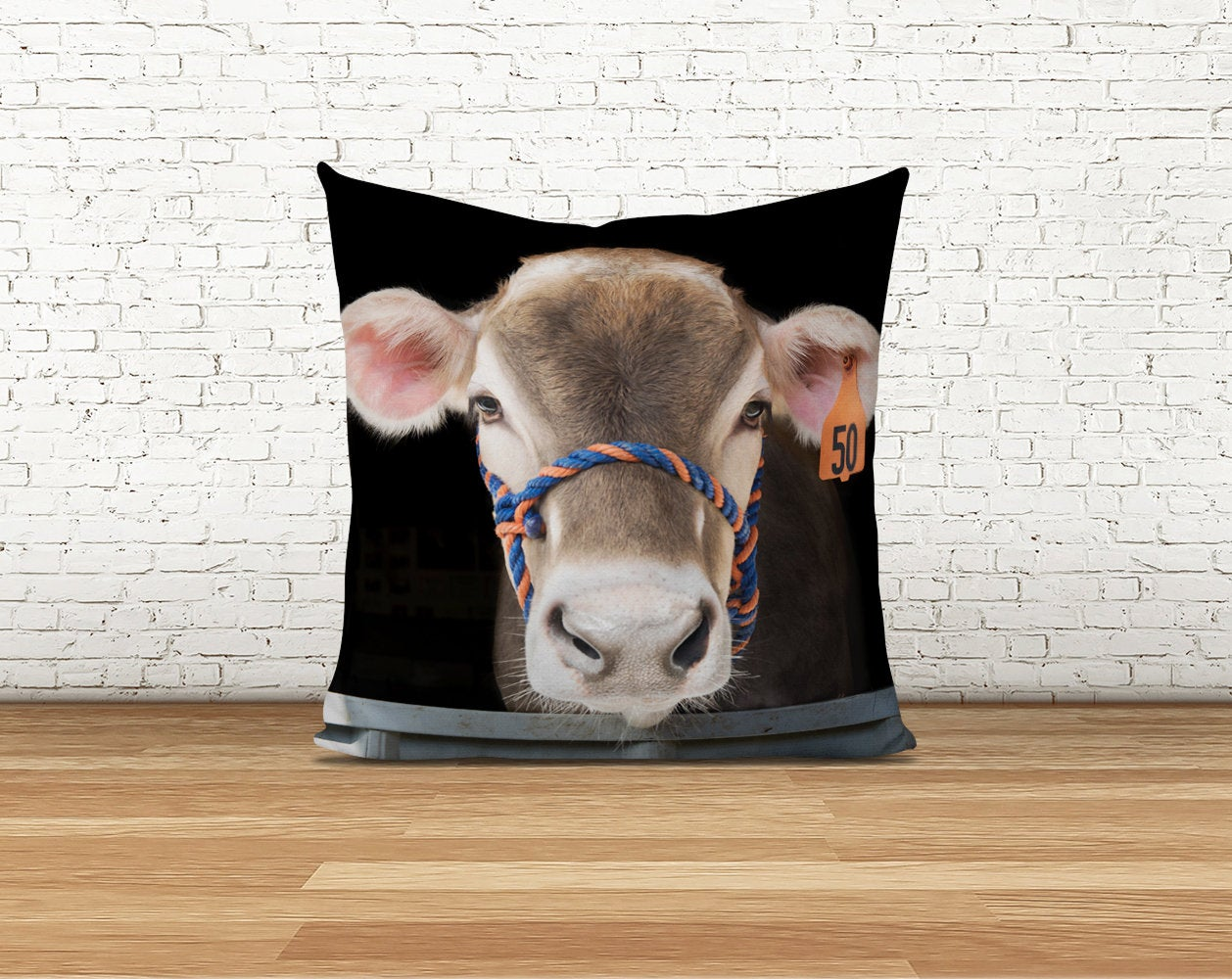 Brown Swiss Cow Bella Pillow Cover