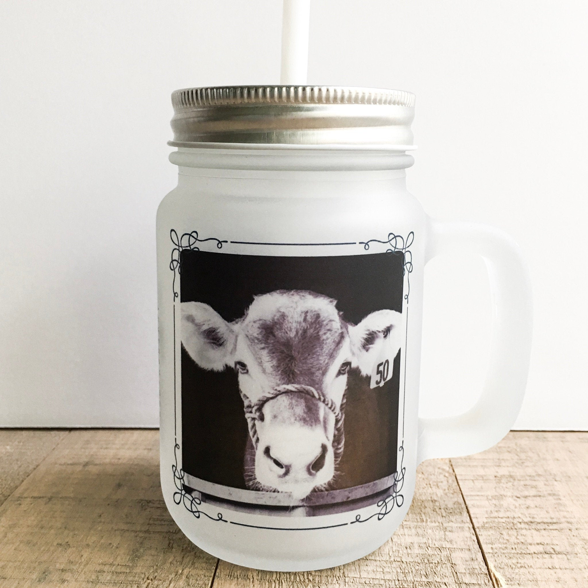 Bella Cow Frosted Mason Mug