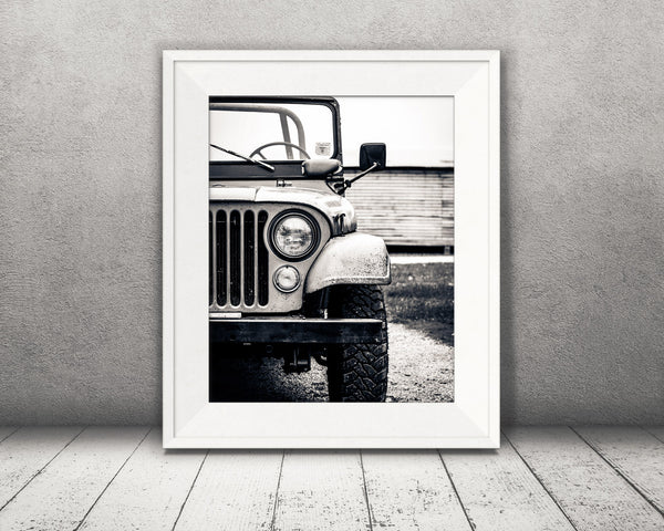 Old Jeep Photograph Black White