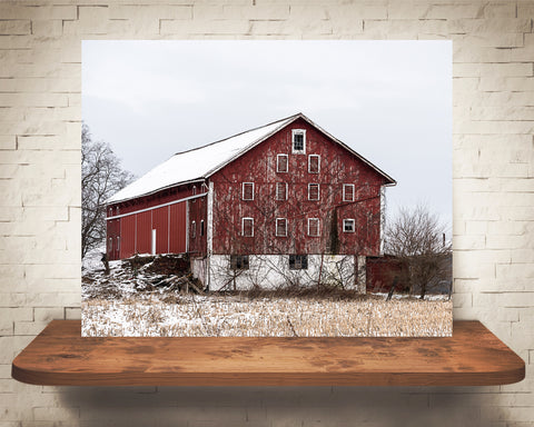 Winter Red Barn Photograph