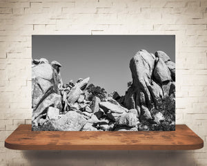 Desert Rock Landscape Photograph Black White