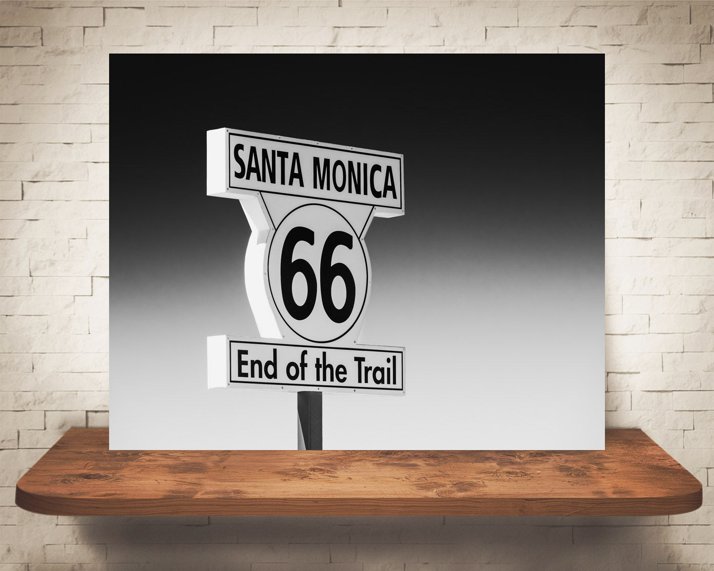 Route 66 Sign Photograph Black White
