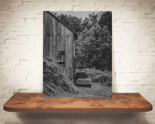 Vintage Truck Barn Photograph Black White