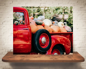 Red Truck Pumpkins Photograph