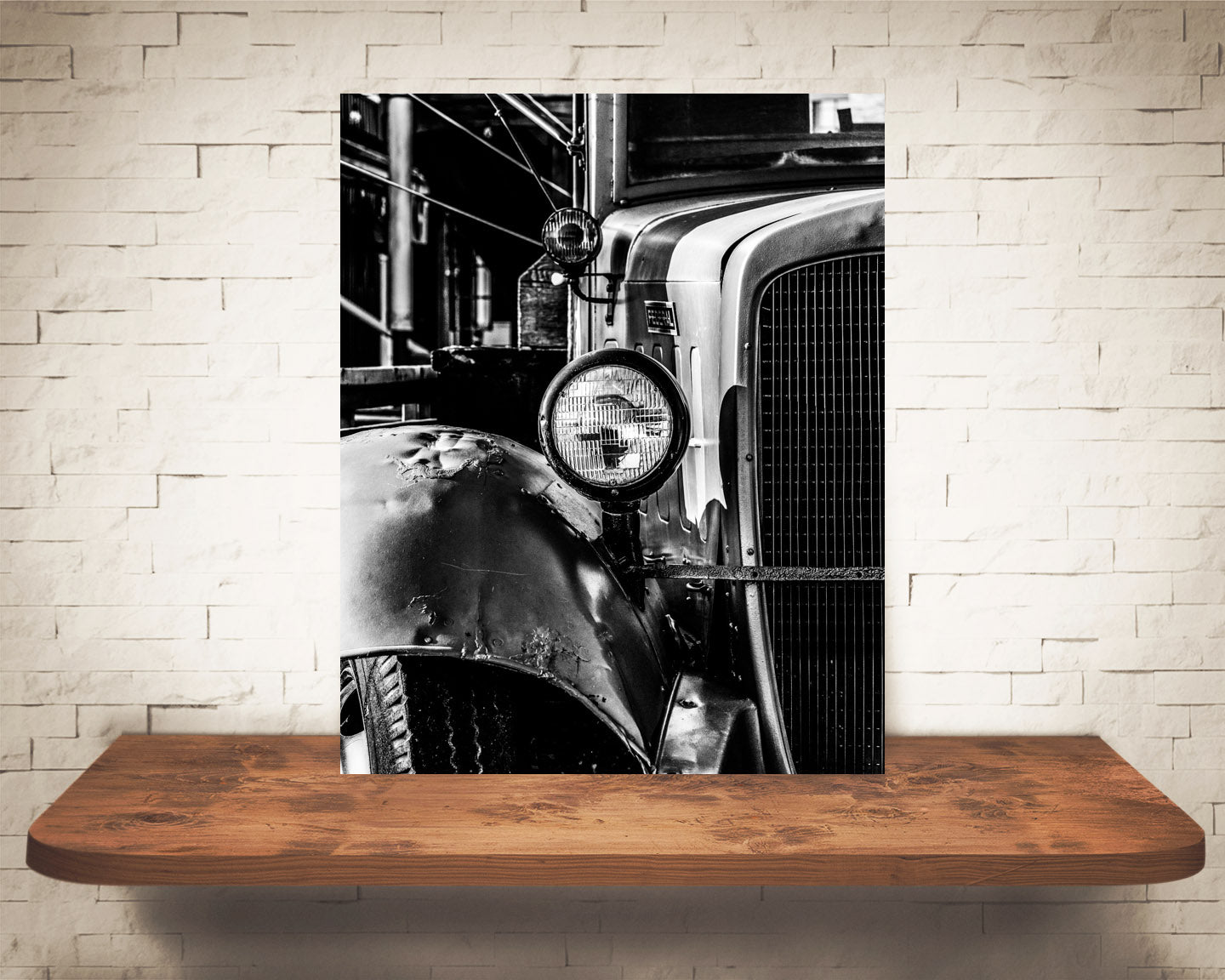 Antique Truck Photograph Black White