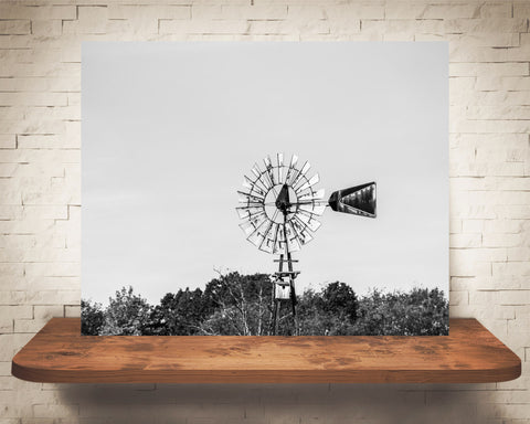 Windmill Photograph Black White