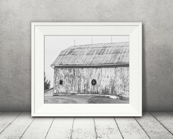 Christmas Barn Photograph Black White