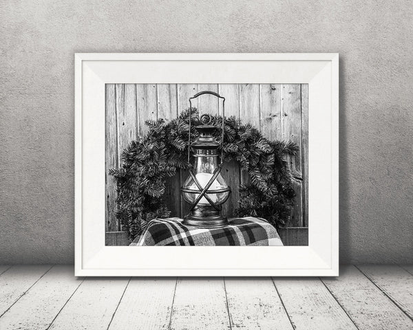 Christmas Wreath Lantern Photograph Black White