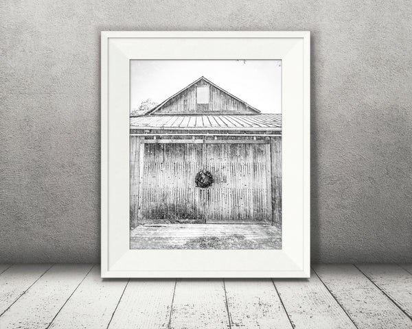 Christmas Wreath Barn Photograph Black White