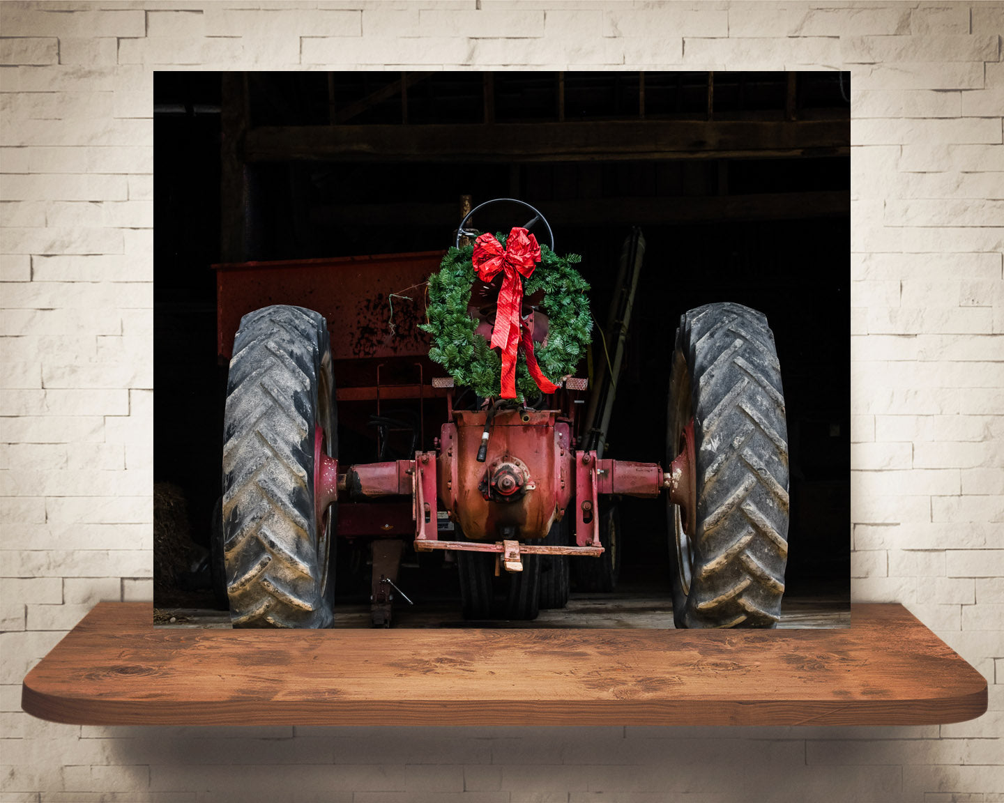 Christmas Wreath Tractor Photograph