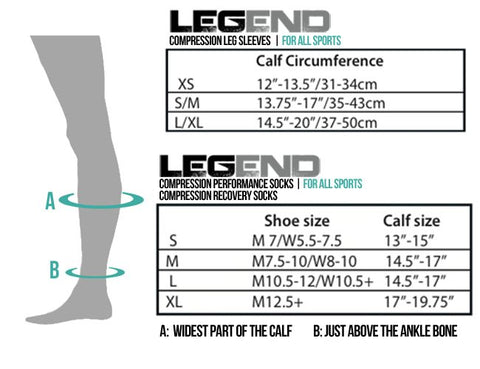 Legend compression performance sock sizing chart