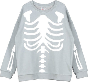 Beau Loves Washed Slate Skeleton Sweater
