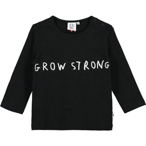 Beau Loves Black Grow Strong Baby Long Sleeved T Shirt