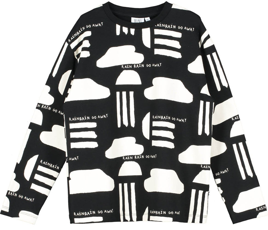Beau Loves Black Rain Print Long Sleeve T Shirt