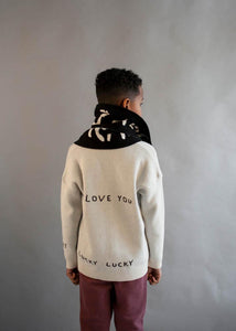 Beau Loves Natural Love You Love Me Jacquard Cardigan