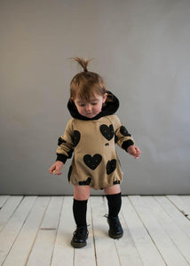 Beau Loves Sandstone Hearts Baby Hooded Romper