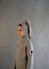 Load image into Gallery viewer, Beau Loves Stone Ribbed Top Knot Hooded Sweater