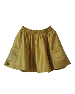 Bandy Button Satin Skirt