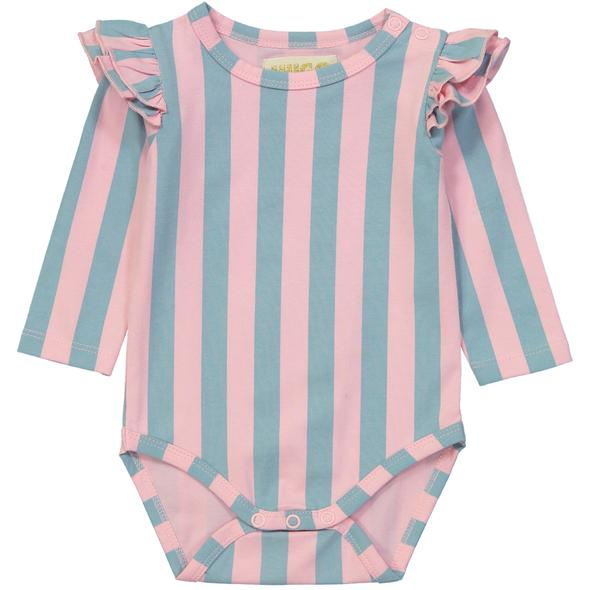 Hugo Loves Tiki Ruffled Long Sleeve Onesie - Cotton Candy Stripes