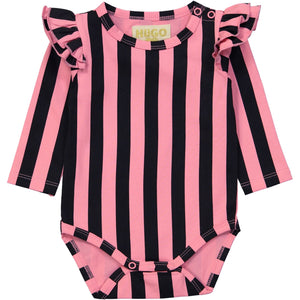 Hugo Loves Tiki Ruffled Long Sleeve Onesie -Pink/Black Stripes