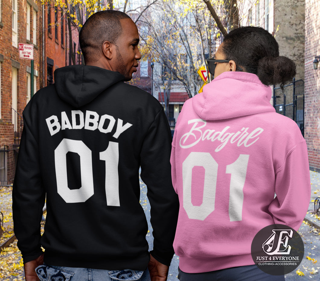Bad Boy 01 Bad Girl 01 Hoodies, Couple Hoodies, Matching Hoodies, Couple Shirts, Couple Matching, Valentine's Day Gift, Couple Sweatshirts