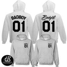 Load image into Gallery viewer, Bad Boy 01 Bad Girl 01 Hoodies, Couple Hoodies, Matching Hoodies, Couple Shirts, Couple Matching, Valentine's Day Gift, Couple Sweatshirts