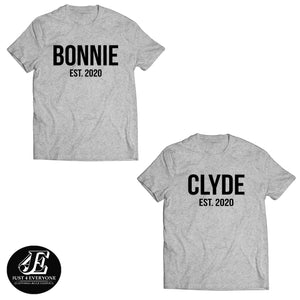 Bonnie and Clyde, Couples Shirts, Matching Shirts, Couple Outfits, Matching Couple Set, Bonnie Clyde Shirts, Custom Shirt, Custom Date