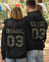Load image into Gallery viewer, Bonnie Clyde Matching Sweaters, Bonnie And Clyde, Couples Hoodies, Bonnie and Clyde Pullover, Custom Hoodies with Custom Numbers