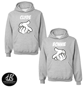 Bonnie Clyde Hoodies, Couples Hoodie, Matching Couple Outfit, Couple Sweaters, Matching Sweaters, Bonnie And Clyde Pullover, Valentine's Day