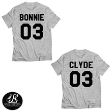 Load image into Gallery viewer, Bonnie Clyde Matching Shirts, Bonnie Clyde Couples Shirt Set, Bonnie Clyde Shirts, Custom Shirts, Custom Numbers, Couples Shirts, Unisex