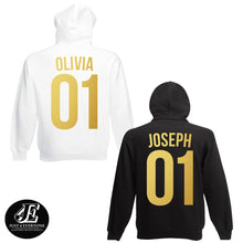 Load image into Gallery viewer, Custom Hoodie, Custom Couple Hoodies, Personalized Hoodies, Custom Number, Custom Name, Any Number, Any Name, Couple Hoodies, Matching Shirt