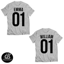 Load image into Gallery viewer, Couple Custom Shirts, Custom Name, Custom Number, Unisex Custom Tees, Matching Shirts, Personalized Shirts, Personalized Name Shirt