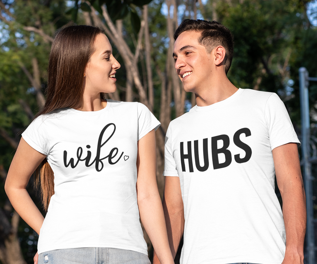 Couples Shirts, Hubs Wife Shirt, Wedding Gift, Honeymoon Shirts, Wife And Hubs Shirt, Matching Shirts, Couples Shirts, Valentine's Day