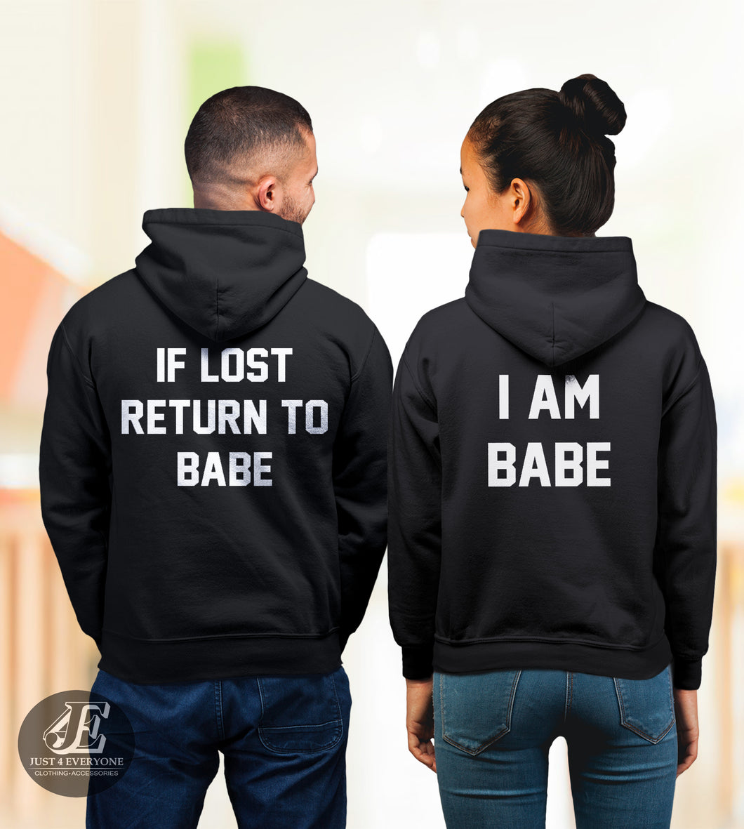 If Lost Return To Babe And I Am Babe, Couples Hoodie Set, Matching Sweaters, Pärchen Pullover, Couple Sweatshirts, Couples Hoodies, Unisex