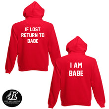 Load image into Gallery viewer, If Lost Return To Babe And I Am Babe, Couples Hoodie Set, Matching Sweaters, Pärchen Pullover, Couple Sweatshirts, Couples Hoodies, Unisex