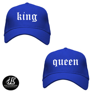 King and Queen, Couple Hats, His and Hers Couple Caps, Couple Gift, Matching Couples Crown