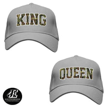 Load image into Gallery viewer, King and Queen, Couple Hats, His and Hers Couple Caps, Couple Gift, Hats For Couple, Matching Couples, Mr And Mrs Hats, Camo King Queen