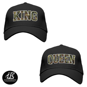 King and Queen, Couple Hats, His and Hers Couple Caps, Couple Gift, Hats For Couple, Matching Couples, Mr And Mrs Hats, Camo King Queen