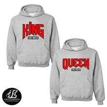 Load image into Gallery viewer, King And Queen Matching Hoodies, Couples Sweatshirts, Pärchen Pullover, Hoodies King And Queen, King And Queen Pullover, Valentine's Day