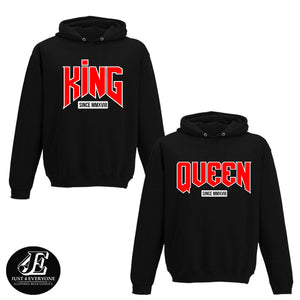 King And Queen Matching Hoodies, Couples Sweatshirts, Pärchen Pullover, Hoodies King And Queen, King And Queen Pullover, Valentine's Day